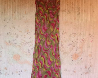 Betsey Johnson Dress Large Pink and Green. Very Sheer!