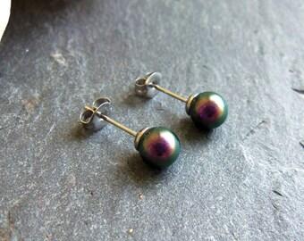 Purple pearl stud earrings, Swarovski pearl post earrings, Swarovski studs, surgical steel earrings, 6mm pearl earrings, iridescent purple