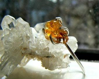 Raw citrine gemstone silver ring- Citrine rough gemstone ring size 8- Dainty sterling silver citrine ring-Fashion ring- Boho women ring gift