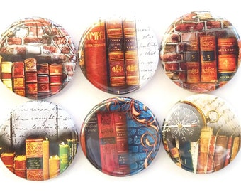 Books, Magnets, Fridge Magnets, Library, School, Law Office, Book Lovers, Home, Book Club, Gift Magnets, Refrigerator Magnets, Set of 6