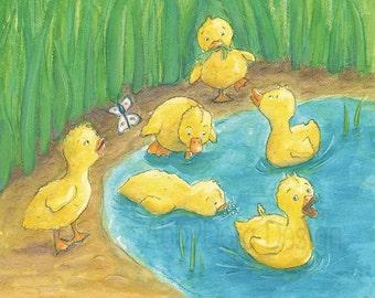 Cute Yellow Ducklings, Art, Ducks, Animals, Pond, Nursery Art, Children's Art, Print