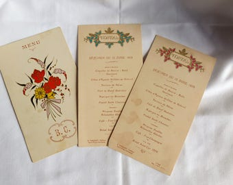 Old Menu / Old Wedding Menu / Old Fashioned Wedding Menu / French Menu / Collections / Old Floral Illustration / Gifts for her / Small gift.