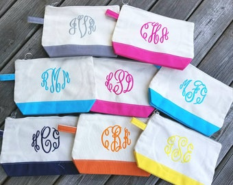 Monogrammed Cosmetic Bag,Monogrammed makeup bag, Monogrammed Bridesmaids Gifts, Personalized Makeup Bag, Personalized cosmetic bag - CB01