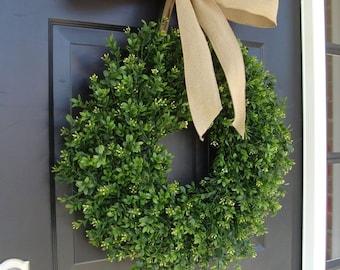 SPRING WREATH SALE Thin Boxwood Wreath- Spring Wreath- Year Round Wreath- Door Wreath- Wreath for Storm Door- Wreath for Storm Door, Outdoor