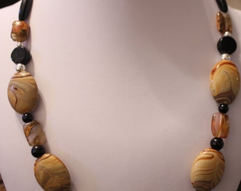Pleasing Riverstone, Citrine, And Porcelain Necklace