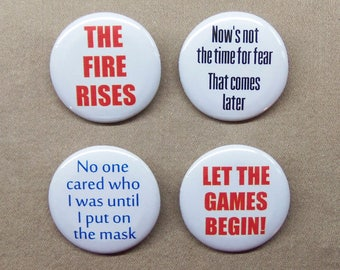 """Bane Quotes 4 Button Set 1.25"""" Dark Knight Tom Hardy Fire Rises, Games Begin, Put on the Mask, Time for Fear"""