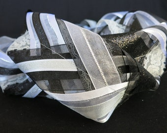 Black, White and Silver Handfasting Cord