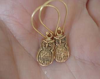 Owl Medicine Totem Gold Vermeil Dangle Earrings