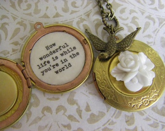 Sparrow Locket necklace, How wonderful life is while you're in the world, this is your song, quote locket, gardenia, daughter gift