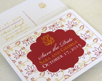 Indian Ganesh Save the Date Postcard - Lotus Floral - Color and Font Options