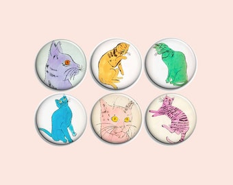 Warhol cats - pinback badge buttons or magnets 1.5""