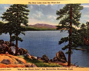 Big Bear Lake from the West End Vintage Linen Postcard SHIPS FREE