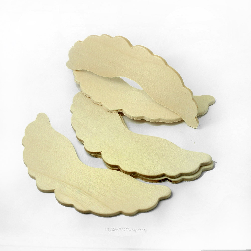 Set of 5 4 Inch Wood Angel Wing Cut Out Shapes Ruffled Wood