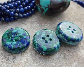 Lapis lazuli turquoise and malachite buttons blue green gemstone buttons , genuine lapis blue luxury buttons . Resin embedded gem buttons