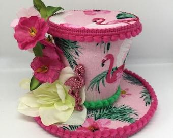 Pretty in Pink tropical flamingo mini top hat fascinator