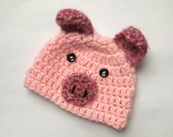 Baby Barnyard Simple Cute Pink Pig Hat