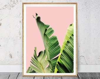 Banana Leaf Art, Banana Leaves, Leaf Print, Banana Leaves Pink, Tropical Wall Art, Tropical Printable, Digital Print, Green and Pink Print
