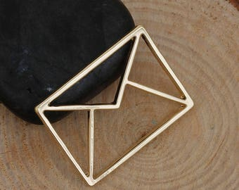 Charm origami envelope 31x23mm hollow gold