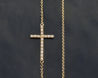 Kelly Diamond Sideways Cross Necklace -  Set Off Center
