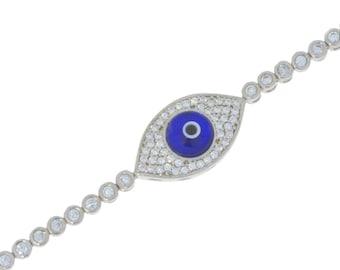 Blue Evil Eye CZ Bracelet .925 Sterling Silver