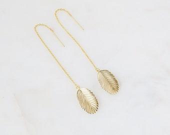 Palm Leaf Threaders | Threader Earrings | Gold Earrings | Boho Earrings | Dangle Earrings | Minimalist Earrings | Dangle Earrings
