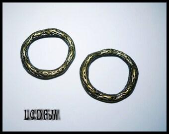 * ¤ Set of 2 metal rings Bronze hammered - look diameter 21mm ¤ * #PC48