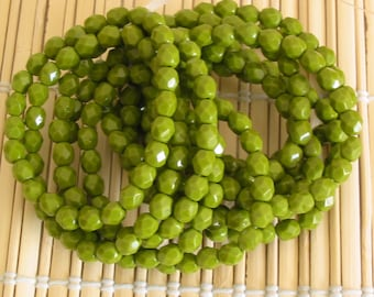 Czech glass beads, round faceted glass beads, olive green opaque 6mm pack of 25 (F623)