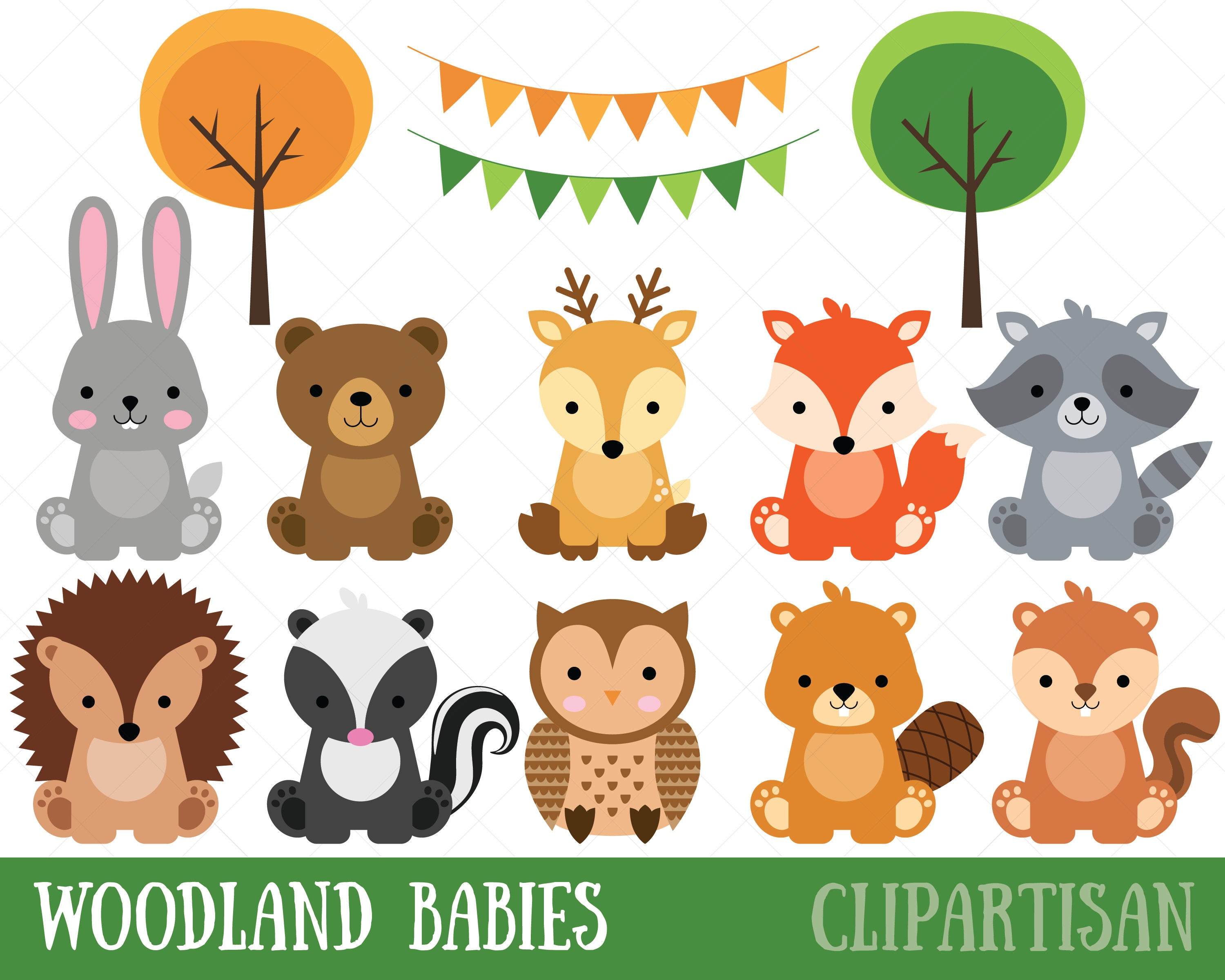 Line Drawings Of Woodland Animals : Woodland baby animals clipart forest animal