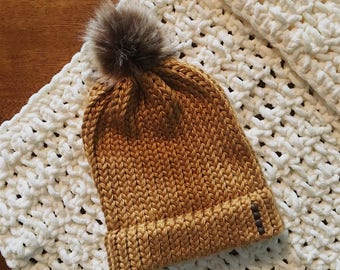 Mustard Yellow Chunky Knit Beanie with Brown Pom Pom - Embellished with Gemstones