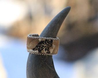 Bear cub leather cuff bracelet