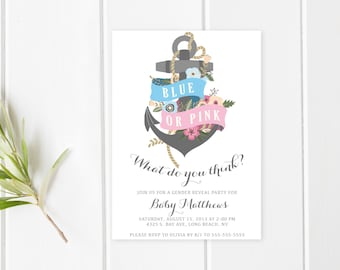 Gender Reveal Invitation, Anchor Gender Reveal Party Invite, Boy Or Girl, Blue or Pink, Gender Reveal Party Invitation, Nautical, [272]