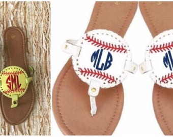 Baseball Softball Monogrammed Sandals Sizes 6-11 disc