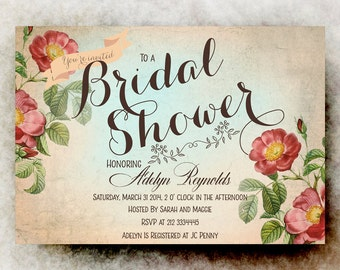 Bridal shower Invitation printable - rustic bridal shower, wedding shower invitation, bridal shower invites, diy bridal shower