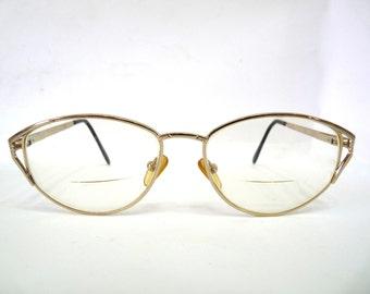 Vintage Cat-Eye Glasses Prescription Eyeglasses Reading glasses Gold Frame