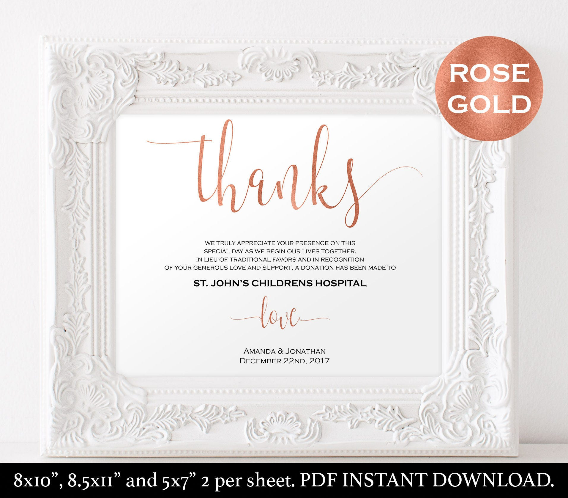 Wording For Money In Lieu Of Wedding Gifts: In Lieu Of Wedding Favors Thank You Donation Printable