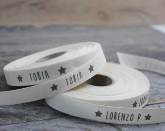 Roll in cotton H. 1.5 cm. Customizable-Cotton Ribbon 0.6 ' Inc, 1.5 cm, 15 mm personalized