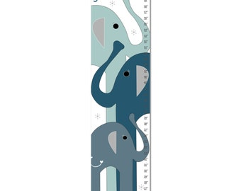 Growth Chart, Elephant Growth Chart, Blue Elephant Growth Chart, Custom Growth Chart, Custom Blue Growth Chart, Canvas Growth Chart