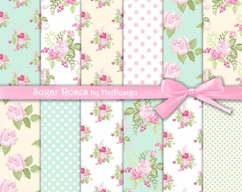 "Shabby chic digital paper : ""SUGAR ROSES"" rose digital paper in shabby style on pale blue and yellow background, pink shabby roses"