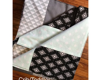 Crib/Toddler blue and black quilt