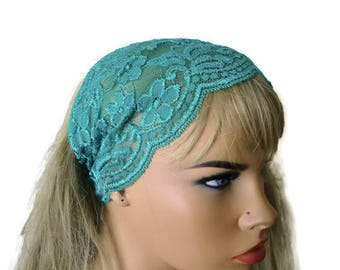 Soft emerald Green Stretch Lace Headband, Bridesmaids Hair Wrap-Anytime fashion-Summer headbands-Summer fashion(002)