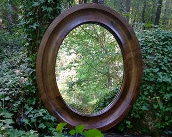 Oval Mirror, Custom Oval Mirror, Custom Mirrors, Solid Walnut Oval Mirror, Wood Framed Oval Mirror