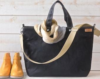 Black Diaper bag, Waxed canvas bag, Messenger bag, black tote bag, adult bag, Tote bag, Gift for her, gift for him, bike bag, work bag