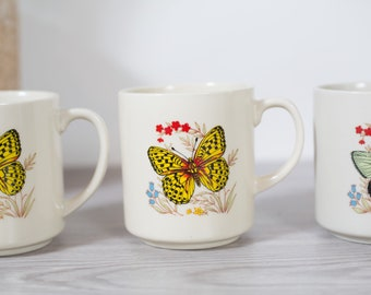 Vintage Butterfly Mugs - 4 Small Ceramic Mugs with Butterflies