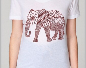 Women's Elephant Tapestry T shirt (SM and LG)  - American Apparel T Shirt - Full Spectrum Apparel - Shirts for women Sale Gift