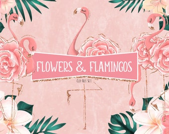 Tropical Flowers & Pink Flamingos