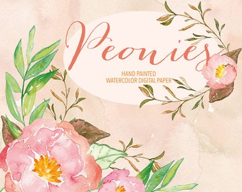Watercolor peony etsy watercolor peony clipart spring flower clipart pink floral clipart leaf clipart wedding mightylinksfo