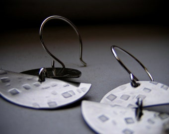 Textured Nickel Double Half Moon Earrings