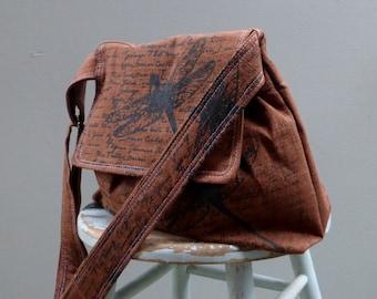 Medium Brown  Messenger Bag - Dragonfly Words - Adjustable Strap - Pockets - Key Fob