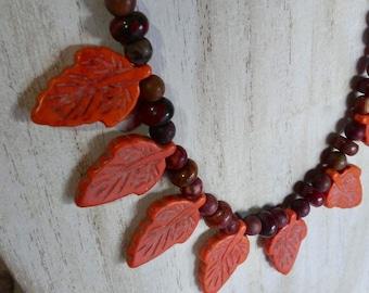 Gorgeous autumn leaf carved stone quartz agate and Jasper statement necklace