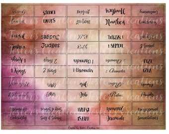 Double Sided-PRINTABLE- Bible Tabs-pink and brown-FOR TAB punch